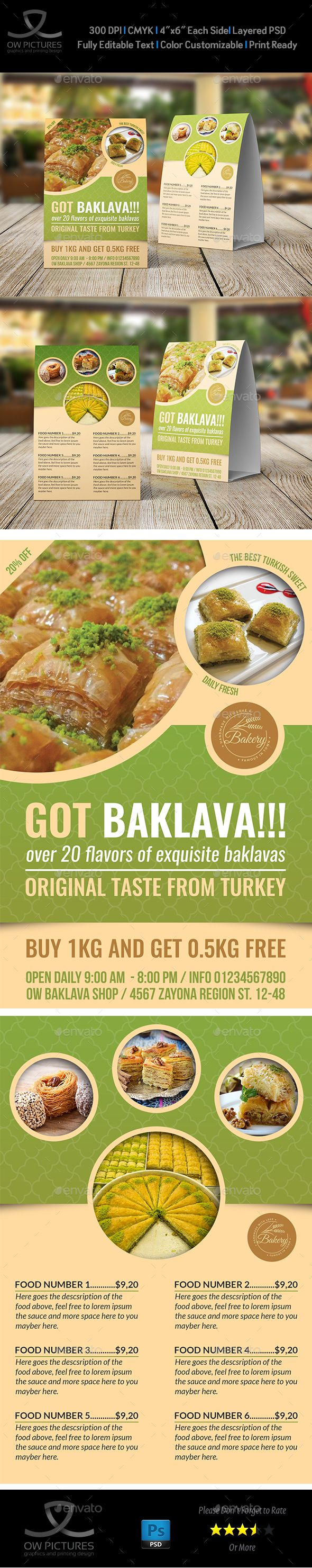 Baklava Table Tent Template & 46 best Table Tent Design images on Pinterest | Food menu template ...