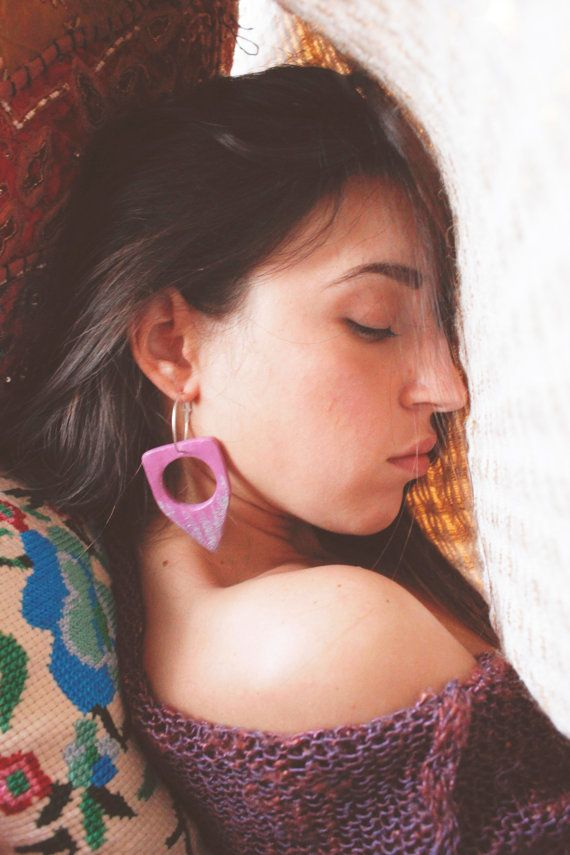 Tribal pink earrings boho hippie jewelry wooden by TACEHandmade