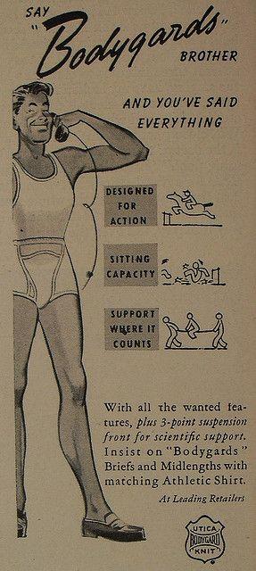 1950s Briefs Bodyguards UTICA HEALTHKNIT Men's Underwear Vintage Illustration Advertisement by Christian Montone, via Flickr