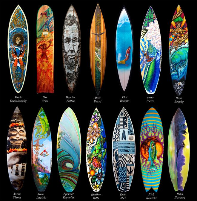 Surfboard Art (Ty likes bottom row 5th one in)