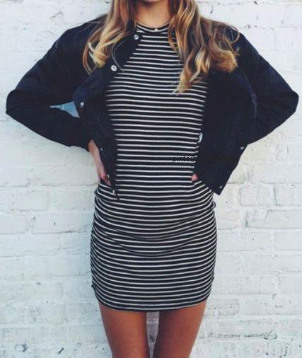 bomber jacket + stripe dress #topshop