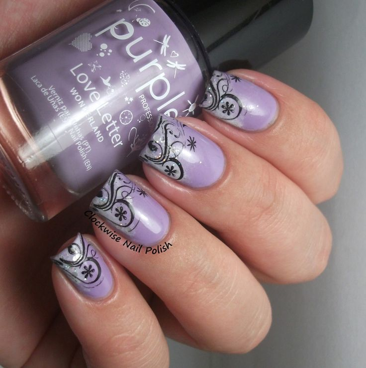 The Clockwise Nail Polish: Purple Professional 103 Love Letter & Diagonal French Nail Art