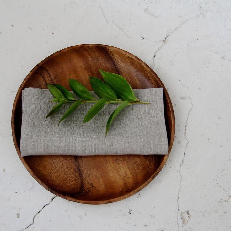 Fog Linen Acacia round tray