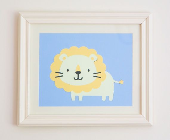 Lion baby nursery baby wall art framed 8 x by PickledPepperPaper, £12.50