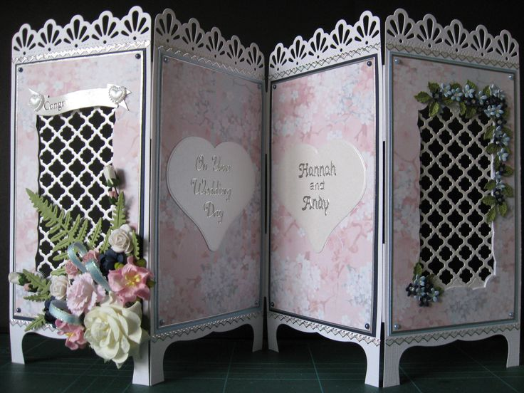 Oriental screen wedding card, Spellbinders lattice die and the hearts and tiny flowers, mounted on alternate navy and ice blue card and cherry blossom backing paper from oriental cd, flower spray made with flowers from wildorchid crafts