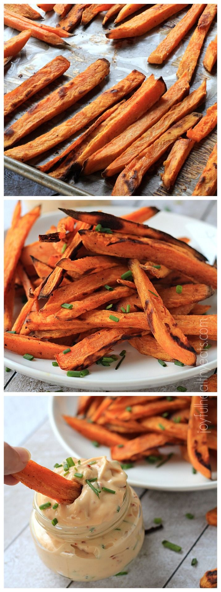 Officially addicted to these Sweet Potato Fries, and they're healthy because they're Baked. Plus a dynamite sauce! (joyfulhealthyeats)