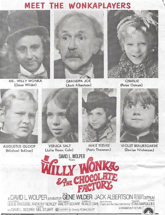 Gene Wilder, Jack Albertson, Michael Bollner, Julie Dawn Cole, Denise Nickerson and Peter Ostrum in Willy Wonka & the Chocolate Factory (1971)