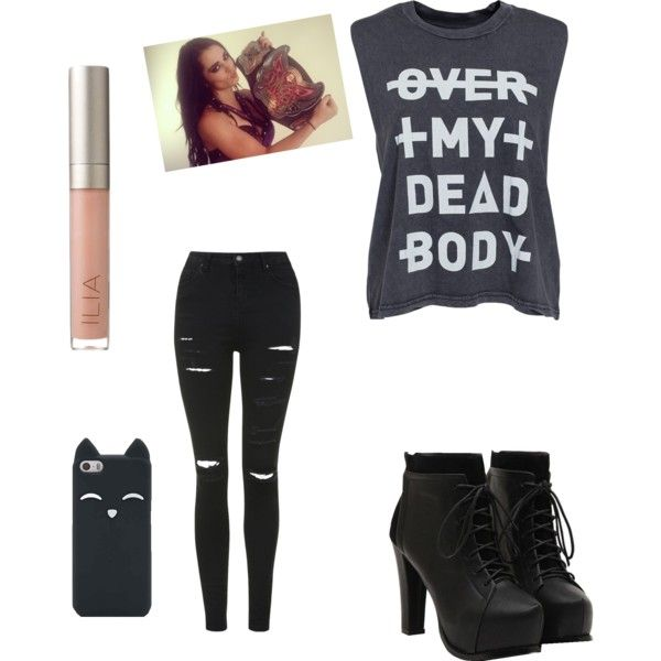 WWE Paige Inspired Outfit by skylargreyxx on Polyvore featuring polyvore, fashion, style, Cheap Monday, Topshop, Ilia and Champion