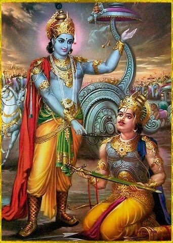 "Krishna preaching to Arjuna .. The text being Bhagavad Geeta. For example 4:11 - ""All of them as they surrender unto Me, I reward accordingly. Everyone follows My path in all respects, O son of Prtha."":"