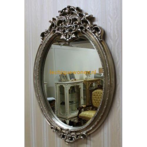 Grote ovale spiegel zilver barokke stijl van lodewijk xvi for Grote zilveren spiegel