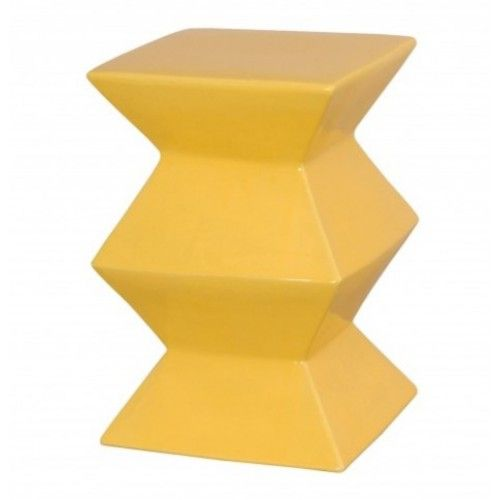 Bright Yellow Accordion Ceramic Garden Stool Table