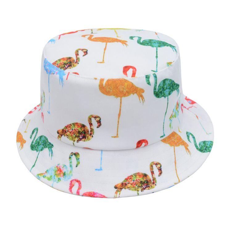 White Digital Print Flamingos Men Women Bucket Hat Fishing Outdoor Beach Sun Cap #Goldtop #Bucket