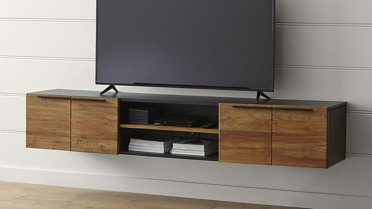 Rigby Floating Media Console.  Really like this idea...could store a few awesome ottoman's underneath for additional seating.