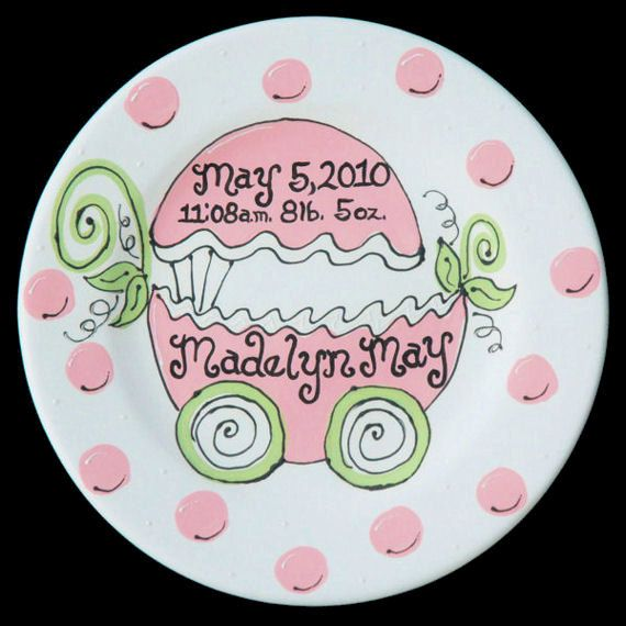 "A Personalized Hand Painted ""Polka Dot Baby Carriage"" Ceramic Plate for Newborn Girl or Boy by LittleBugCeramics.com, $63.00"
