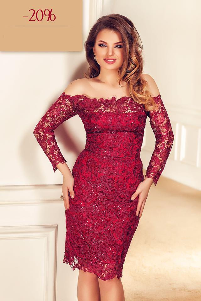 Elegant off shoulder lace dress with sequins embroidery Zaira: https://missgrey.org/en/dresses/lace-evening-dress-in-burgundy-shades-with-sequins-zaira/456?utm_campign=black_friday&utm_medium=rochie_zaira_bordo&utm_source=pinterest_produs