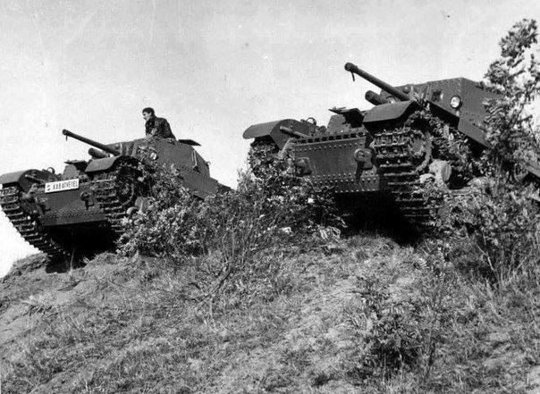 "Hungarian tanks ""Turán I"" at the training ground."