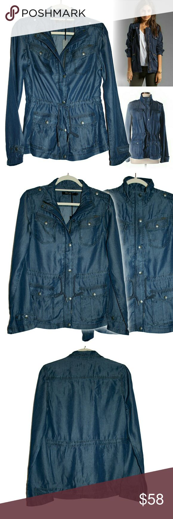✨1 HR SALE✨ S,M MAX Denim Tencel Jacket NWT This denim anorak has so many great details! It features four patch pockets giving urban safari vibes, a drawstring that cinches the waist, long sleeves w/ roll tabs, both zipper & snap buttons for closure, and buttons on the shoulders & cuffs. Buttons are distressed & pewter-colored. The denim fabric is 100% Tencel w/ subtle shine to it. Tencel is a VERY sustainable fabric from eucalyptus trees and feels like rayon & bamboo. It is comfortable…