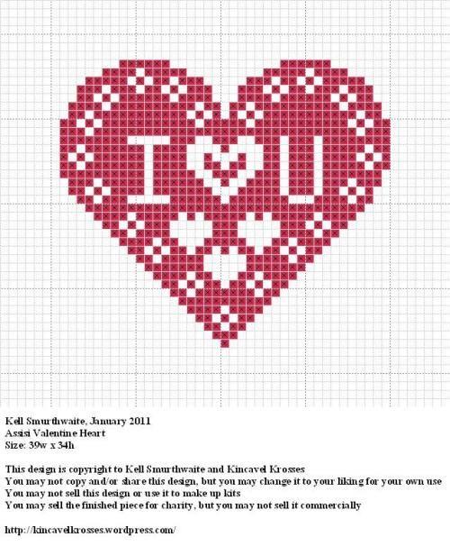 i <3 you cross stitch pattern