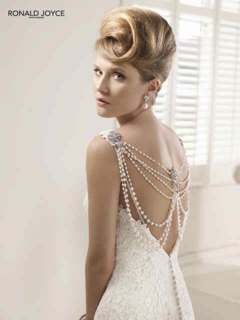 beaded back of a wedding dress