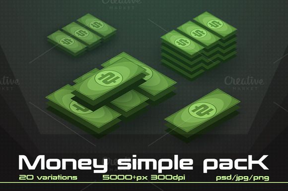 Money simple pack by stallfish's art store on @creativemarket