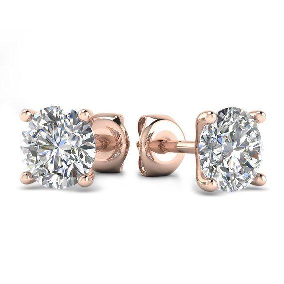 6738dad28a4cc 14k Rose Gold 4-Prong Martini Diamond Stud Earrings - 1.60 carat D ...