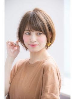 厚めバング小顔斜めバングハニーヘア☆【國武さゆり】