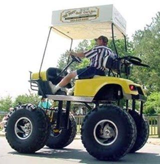 .#golfballsunlimited.com Redneck golf cart! Lifted golf cart. Re-pinned by www.apebrushes.com. Learn more about the best golf course maintenance equipment!