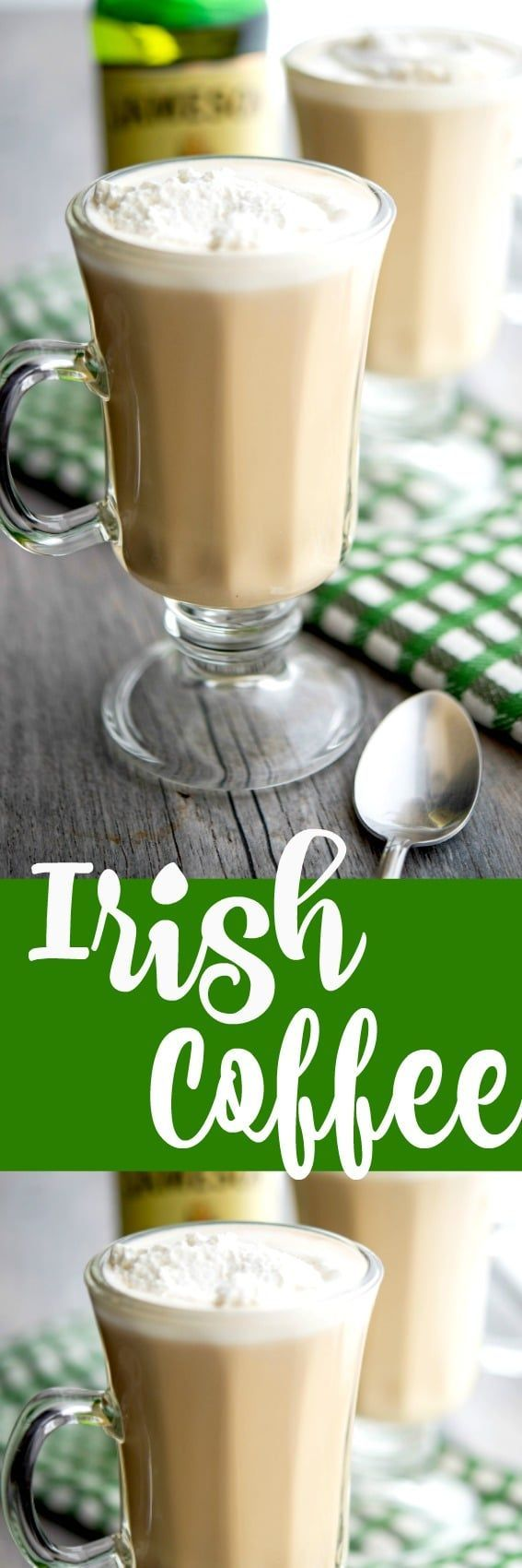 Warm your soul with this recipe for homemade Irish Coffee made with freshly brewed coffee and Irish whiskey; then topped with a dollop of whipped cream. #coffee #irish #homemade #whiskey #stpatricksday