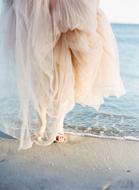 Blush pink Reem Acra gown used for an elegant anniversary session | Wedding Sparrow