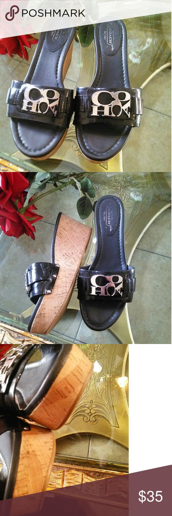 Coach Jen Patent A8379 Wedge Sandals shoe Size 8 Black Coach Jen Patent A8379 Ladies Wedge Sandals Size 8. Original coach shoes fantastic for this summer. Gently used in great condition. They are ready to be loved. ;) coach   Shoes Wedges