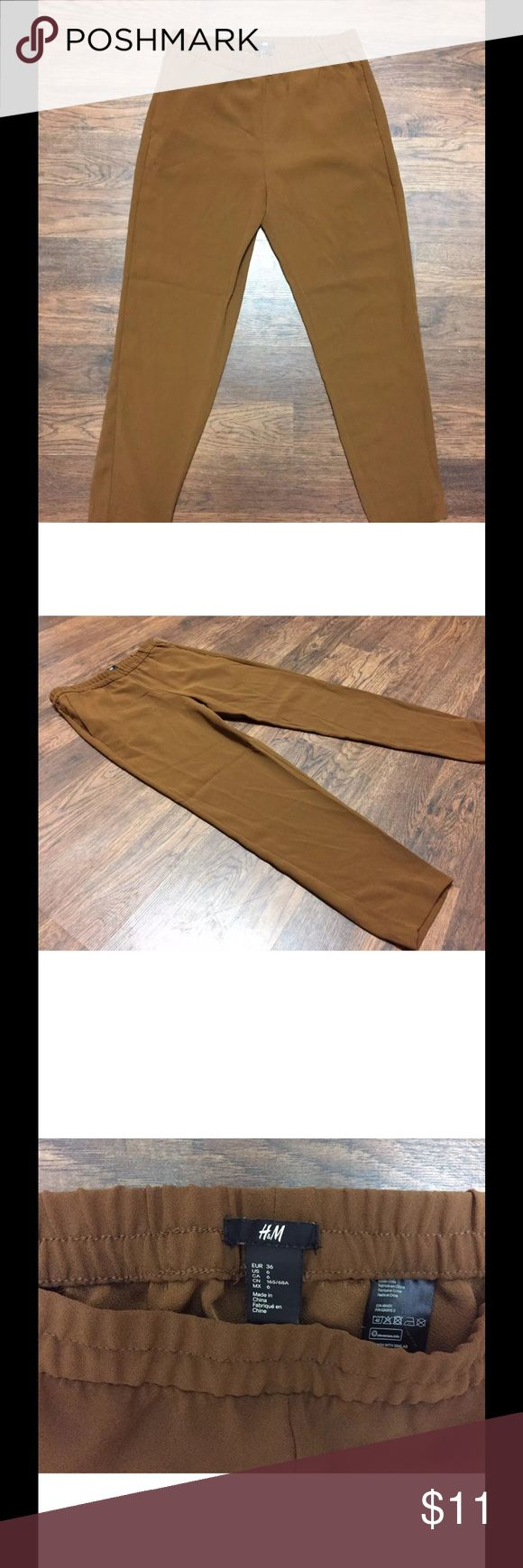 H&M trousers tan size 6 Tan colored slacks/trousers by H&M super cute  size 6 H&M Pants Ankle & Cropped