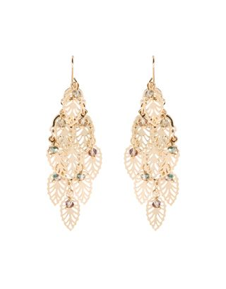 Crafted from gold-tone metal, these chandelier earrings are ornamented with filigree leaves, and accented with faceted beads. Please be aware that this item ...