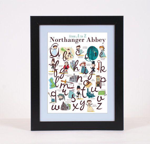 Jane Austen print Northanger Abbey Alphabet 1260 by PemberleyPond, €15.00
