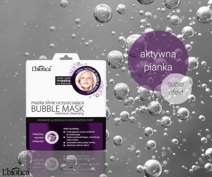 L'biotica Bubble Mask - maska oczyszczająca, która po nałożeniu na twarz zmienia się w aktywną pianke. #buuble #bubblemask #sheetmask