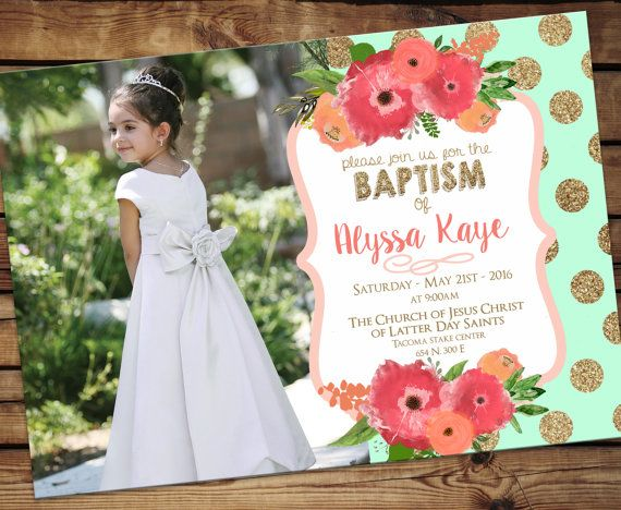 lds baptism invitation, girl modern baptism invitation, printable  - modern baptism announcement Mint and Coral Floral - Digital Download