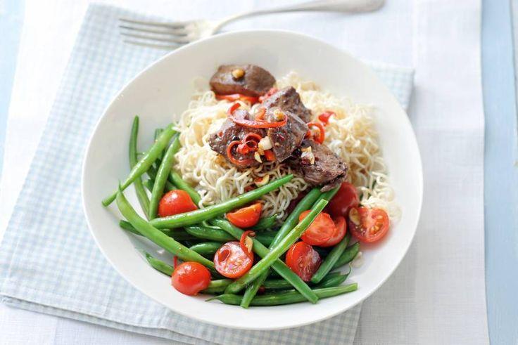 👌🏻👌🏻👌🏻👌🏻👌🏻💗 Aziatische noedelsalade met biefstuk en sperziebonen - Recept - Allerhande
