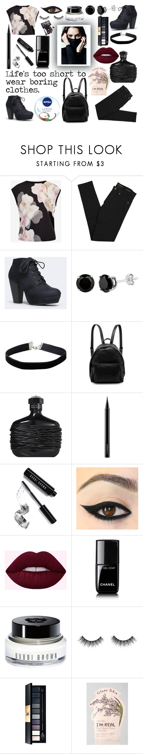 """""""Life's too short to wear boring clothes."""" by ramennoodley ❤ liked on Polyvore featuring Ted Baker, Yves Saint Laurent, Miss Selfridge, STELLA McCARTNEY, John Varvatos, MAC Cosmetics, Bobbi Brown Cosmetics, Nivea, Chanel and TONYMOLY"""