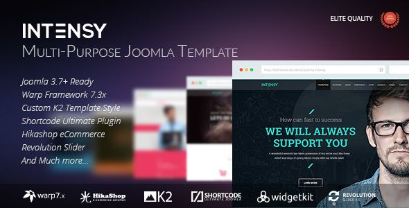 Intensy - Multipurpose Joomla Template Intensy – Perfectly scale-able, super performance and SEO optimized, responsive, multi-purpose Joomla template. It will fit every site – big or small. From huge corporate portals to studio or personal sites. Intensy made with great Warp Framework 7.3.x and Shortcode Ultimate Plugin so it's gives you huge features that you needs.