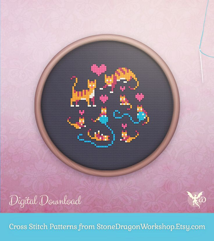 "Looking for a colorful new cross stitch project? Get HAPPY CAT FAMILY from Stone Dragon Workshop on Etsy! These decorative & modern patterns produce pretty finished stitches & fit perfectly in a 6"" hoop on 14 ct aida. Each pattern is designed using a small, but effective DMC floss colour palette, making them fun & easy to stitch - perfect for seasoned stitchers & beginners alike!"