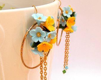 Berry Earrings Flower Earrings White Earrings by insoujewelry