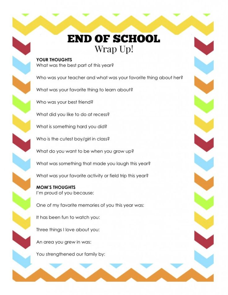 "End of School Wrap Up... A Fun Questionnaire to Remember Their Year!  ""Or so she says..."""