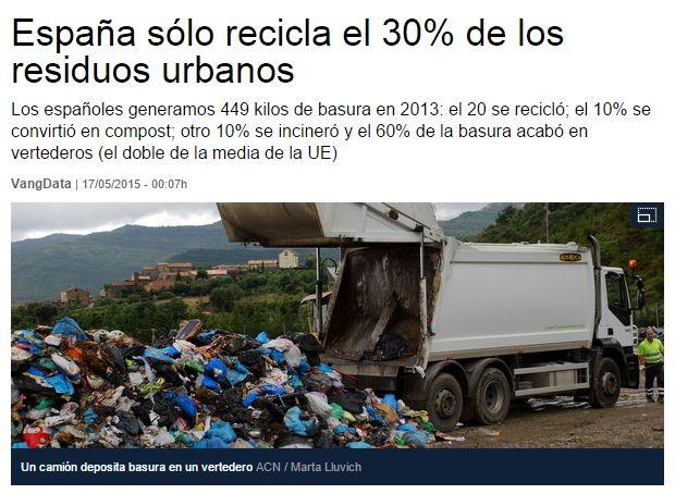 España sólo recicla el 30% de los residuos urbanos / LaVanguardia | #readyforsustainability