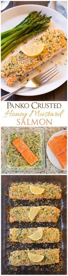 Panko Crusted Honey Mustard Salmon - one of the easiest salmon recipes you'll ever make and it's seriously delicious!!