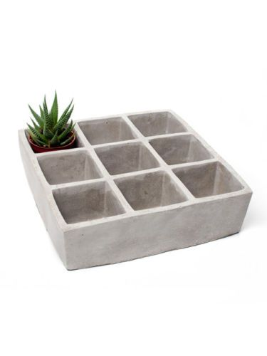 "Urban Decor 10"" Concrete Large Square 9-Box Planter Flower Herb Pots"