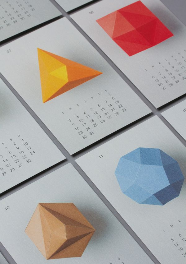 2012 calendar made by Lo Siento to give as a gift. Each of the polyhedrons has different number of faces, corresponding with the number or each month.