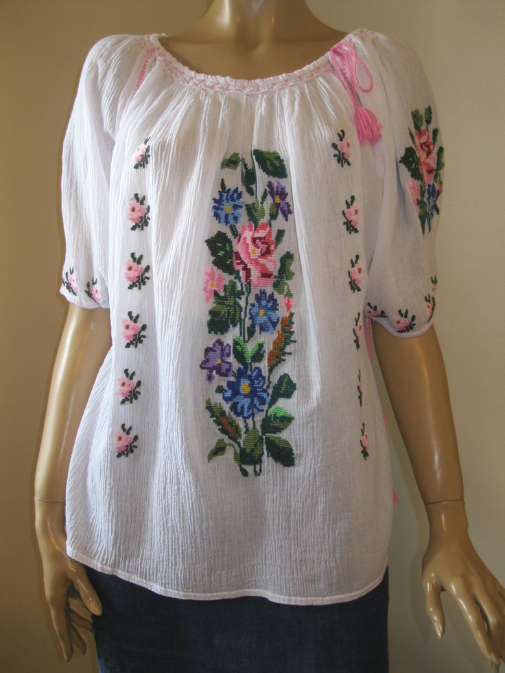 Splendid hand embroidered Romanian ethnic blouse , available at www.greatblouses.com