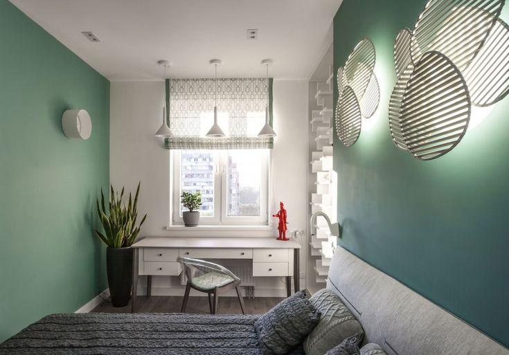 Зеленые стены в апартаментах