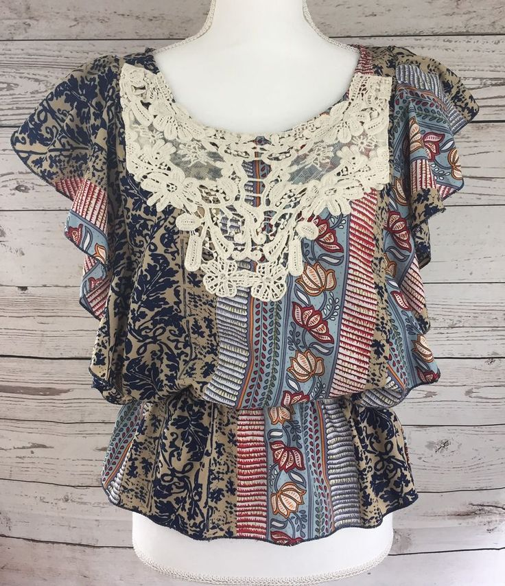 Funky People Floral Print Tank Top Shirt Boho Festival Blouse Crocheted Size L #FunkyPeople #Peplum #Casual