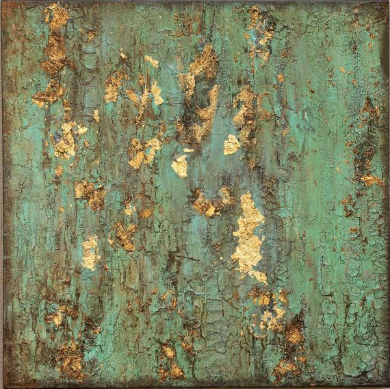 Talks To Angels This is an Amy Neal Art Studio original textured abstract mixed-media painting on 20 x 20 canvas. Richly textured and distressed like a patina on copper or bronze. Flecks of gold leaf, chalk paint, antique sepia wax, acrylic, and other mixed media combine to make a beautiful organic piece that will look striking in any décor. Colors are aqua, turquoise green, gold, black, sepia. Sides painted on stapled-back canvas, wired and ready to hang. Please feel free to ask for…