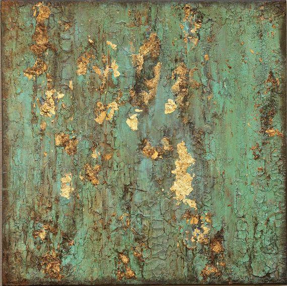 VERKAUFT * texturiert Blattgold Türkis Malerei, Original rustikal Zeitgenosse, Boho Wandkunst